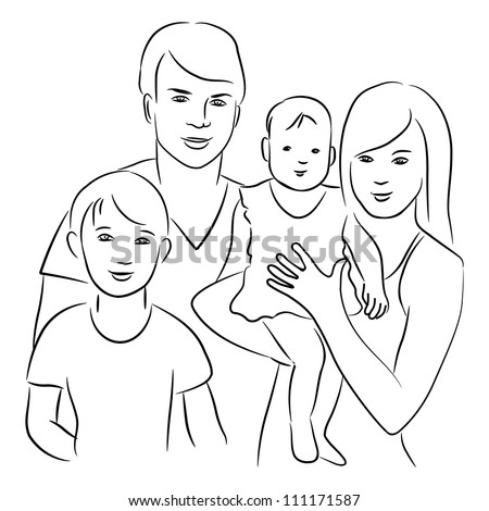 Family Sketch Drawing Stock Vector 111171587 - Shutterstock