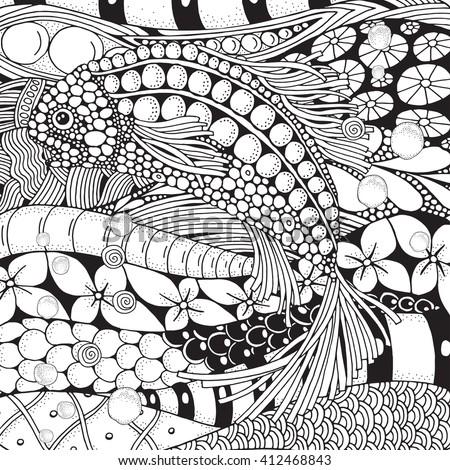 Creative Fish Seamless Pattern Handdrawn Cute Stock Vector 300155306