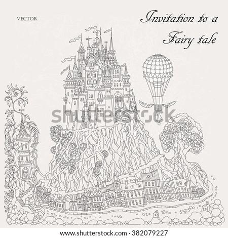 fairy tale book cover template - coloring adult eltz castle germany coloring stock vector