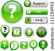 FAQ green web buttons for website or app. Vector eps10. - stock vector