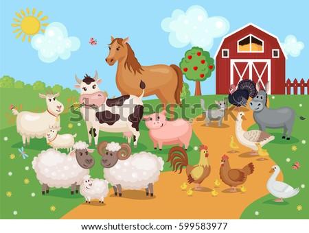 Vector Kids Background Image Rural Landscape Stock Vector