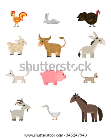 Farm animals and pets set on white background, flat style, vector illustration