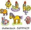 farm animals doodles: chicken, hen, rooster, sheep, horse, rabbit, pig - stock vector