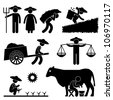 Farm Farmer Worker Farming Countryside Village Agriculture Icon Symbol Sign Pictogram - stock vector