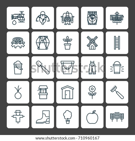 Landscape design icons monochrome vector arrangement stock for Landscape design icons