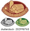 farm symbol (barn and silo) - stock vector