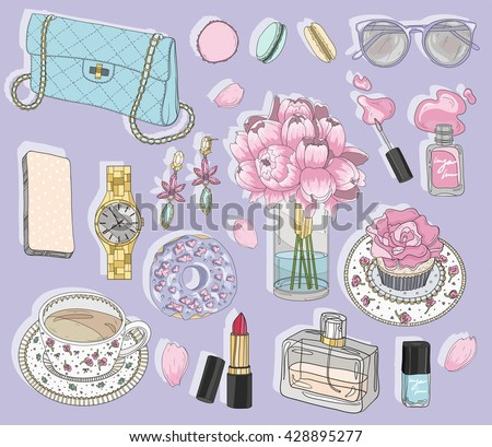 Fashion accessories set. Background with bag, sunglasses, jewelery, makeup, tea, coffee and flowers. Vector fashion illustration. fashion, fashion, fashion, fashion, fashion, fashion, fashion, fashion