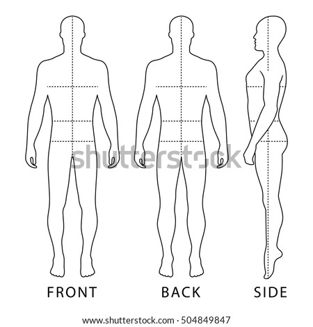 Fashion bald man full length outlined template figure silhouette with marked body's sizes lines (front, side & back view), 