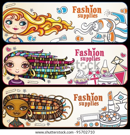 Fashion banner. shopping girls. Vector, horizontal banners with copyspace. beautiful, young women with lots of makeup.