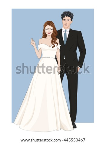 Fashion illustration of beautiful happy wedding couple,brunette bride in stylish wedding dress and handsome brunette groom with curly hairstyle in ceremonial suit,vector