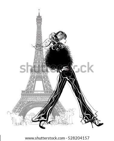 Fashion model by Eiffel tower - vector illustration