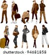 Fashion people - vector set - stock vector
