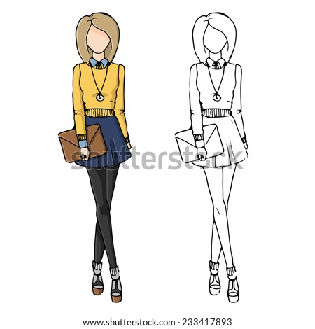 Fashion Sketch Drawing Girls Beautiful Looks Stock Vector 233417881 - Shutterstock