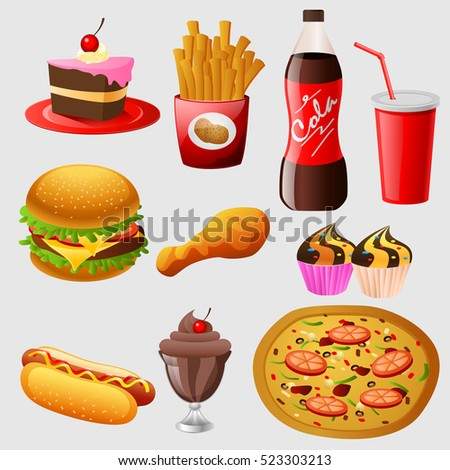 Fast food cartoon collection. vector Illustration