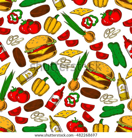 Fast food cheeseburger with ingredients seamless pattern of burger, cheese, beef patty, fresh tomato, pepper, onion and cucumber vegetables, ketchup and mustard sauces