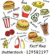 Fast food hamburger vector set - stock vector