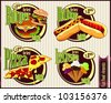 Fast food label - stock vector