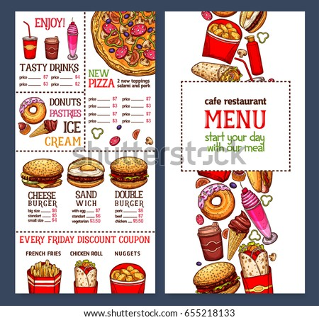 Food posters set advertise ice cream stock vector for Artistic cuisine menu