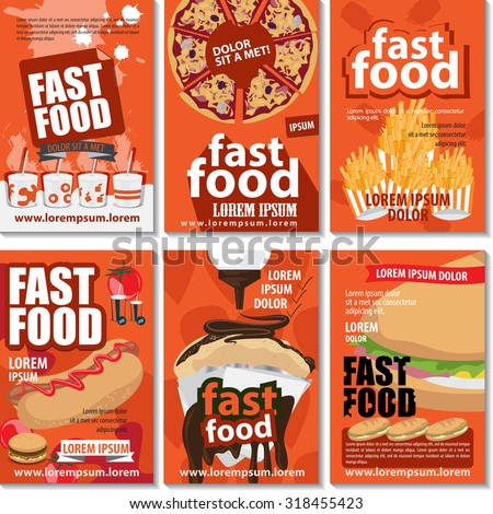Fast Food Poster Design Set - Vector Illustration, Graphic Design, Editable For Your Design