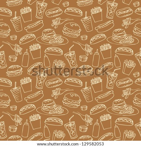 stock vector fast food seamless background 129582053 - Каталог — Фотообои «Еда, фрукты, для кухни»