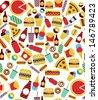 fast food seamless pattern design. vector illustration - stock