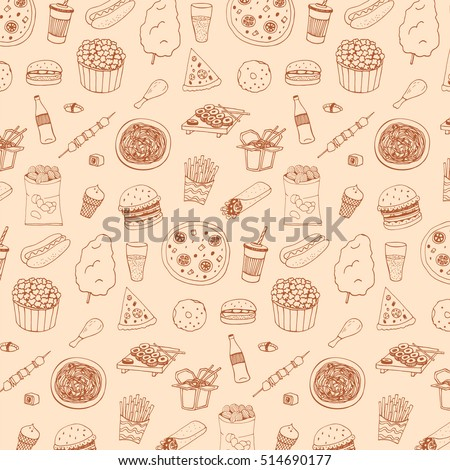 Fast food vector line pattern