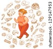 Fat woman dreams of high-calorie foods, goes for a jog. Vector illustration. Isolated on white background - stock