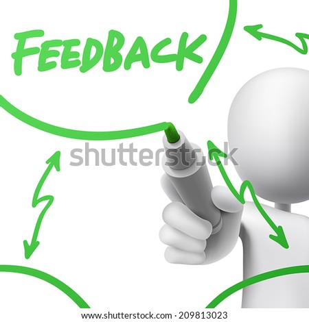 feedback concept drawn by a man over white background