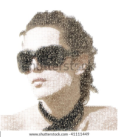 Femme fatale. Woman portrait made from letters. ABC woman.