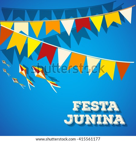 Festa Junina Brazil Topic Festival. Folklore holiday. Festival fire attributes,  flags on a color background. It is a vector illustration.