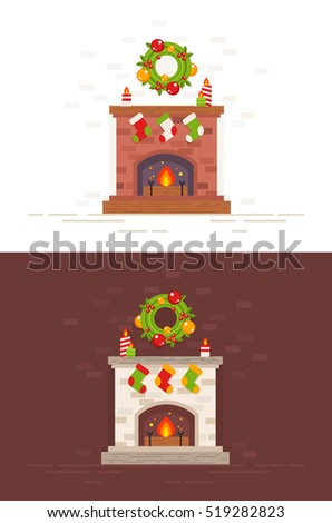 Festive Christmas fireplace illustration in flat style isolated on white and dark background for greeting cards and New Year invitations