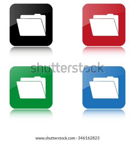 File Folder  - color vector icon  with shadow
