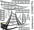 film strip and movie clipper vector art illustration - stock vector