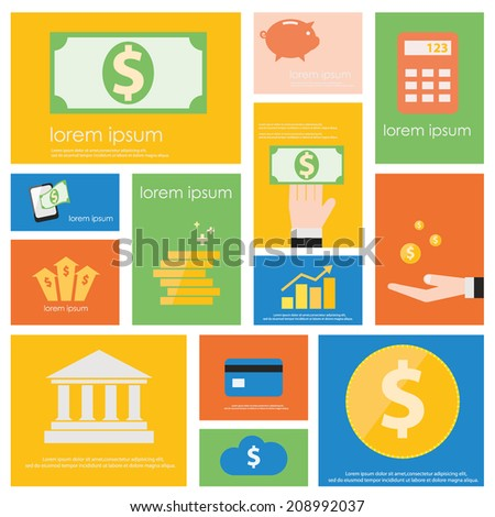 Finance and Banking icon set.  Flat vector retro design .