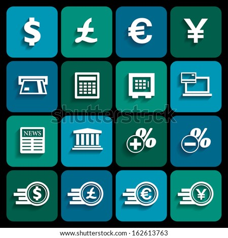 Financial and money icon set, flat design with shadow, vector