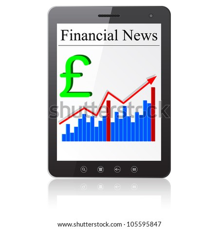 Financial News sterling on Tablet PC. Isolated on white. Vector  illustration
