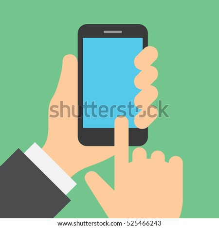 Finger clicks on cell phone display with touch screen. Empty space for placement of pictures or icons. Concept flat style vector illustration.