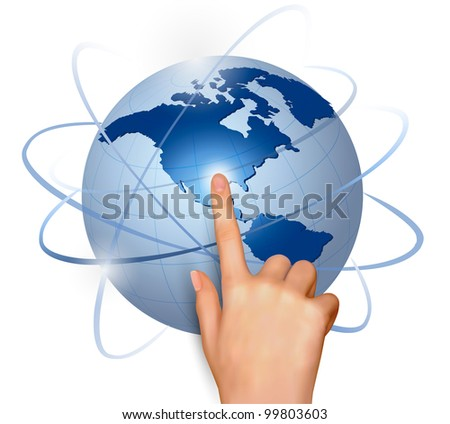 Finger touching globe. Vector.