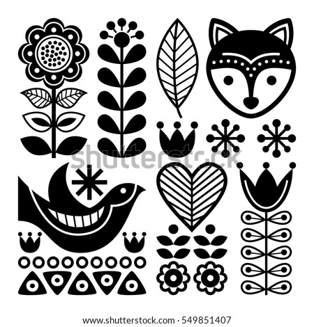 Finnish folk art pattern - Scandinavian, Nordic style, black and white