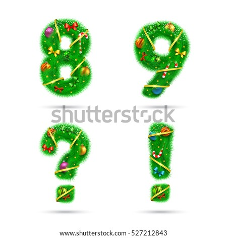 Fir tree font numbers. Christmas and New Year holiday design elements.