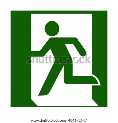 Fire emergency icons. Vector illustration. Fire exit. Vector fire emergency exit. Green symbol of the person running out. Evacuation exit. Escaping exit. Symbol for evacuation plans.