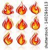 Fire flames new set, with reflection, vector illustration 10eps - stock vector