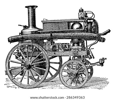 Fire pump steam and direct three-body movement balance, vintage engraved illustration. Industrial encyclopedia E.-O. Lami - 1875.