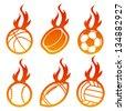 Fire Sport Balls Logo Icons - stock