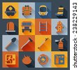 Firefighter flat icons set with badge ladder hat alarm equipment isolated vector illustration - stock photo
