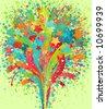Fireworks background. Beautiful vector illustration. - stock vector