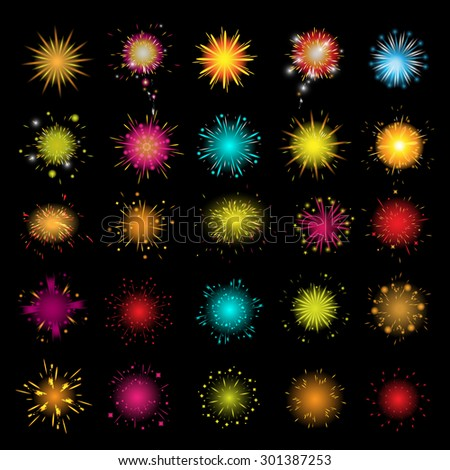 Fireworks Icons Set - Isolated On Black Background - Vector Illustration, Graphic Design, Editable For Your Design