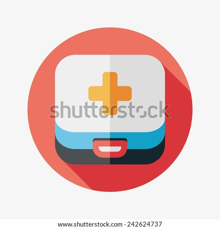 first aid kit case flat icon with long shadow