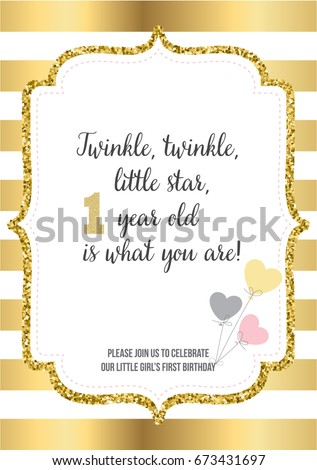 First birthday invitation girl one year stock vector 712600522 first birthday invitation for girl one year old party printable vector template with golden stopboris Images