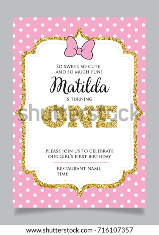 First birthday invitation girl one year stock vector 698659858 first birthday invitation for girl one year old party printable vector template with pink filmwisefo Choice Image